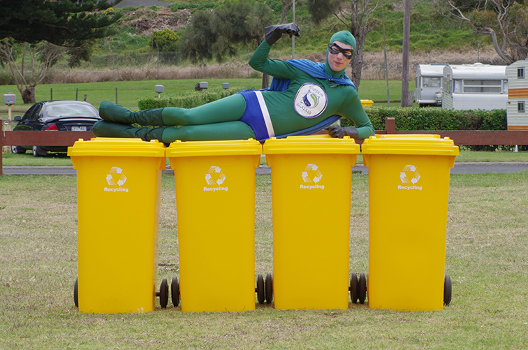 Captain Sustain promotes recycling at The Bool at Surfside, Australia