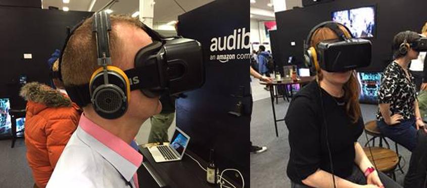 People wearing virtual reality headsets