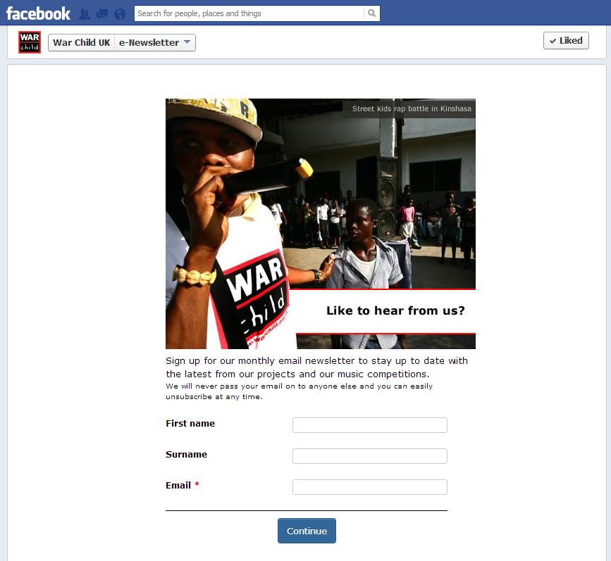 War Child Facebook page