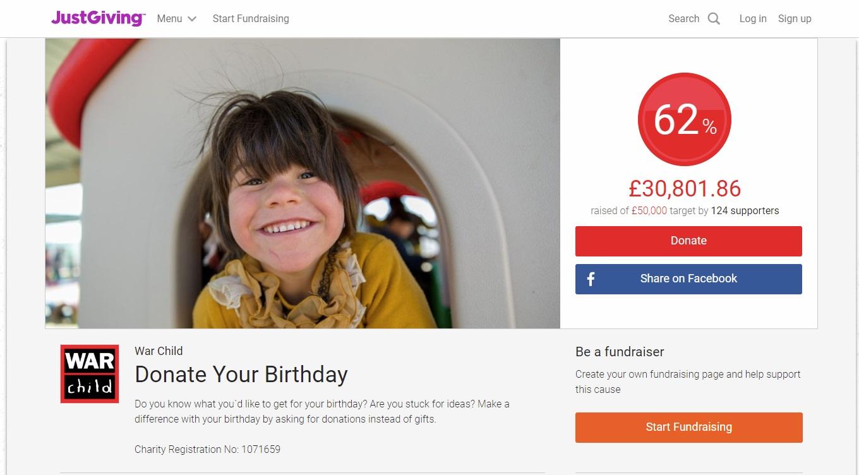 War Child Donate Your Birthday