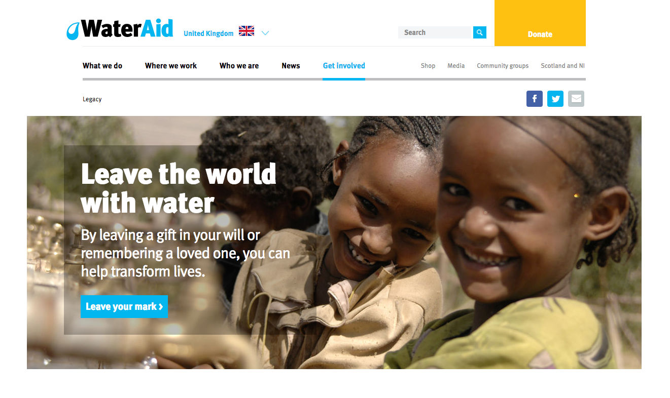 Water Aid legacy fundraising webpage