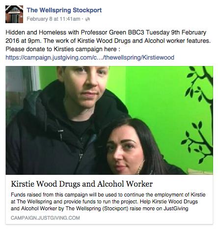 Screen shot of Wellspring Facebook post about Kerrie