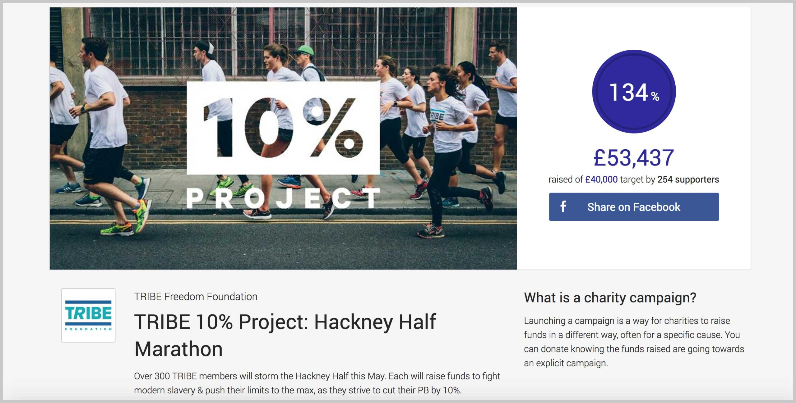 A picture of a JustGiving Campaign