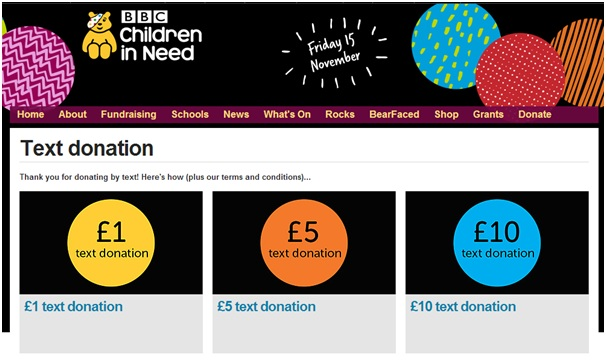 Children in Need text donations