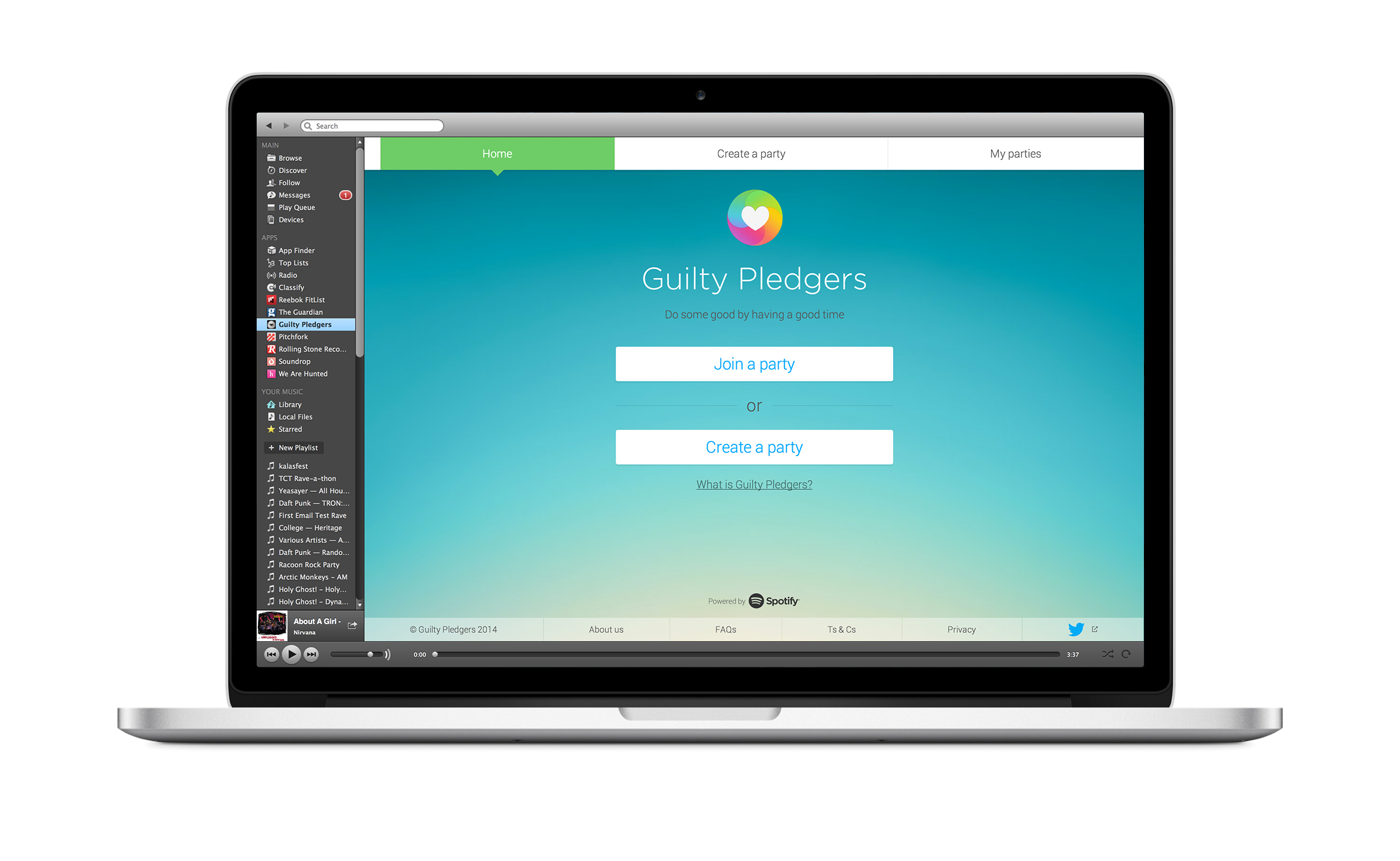 Guilty Pledgers app on desktop