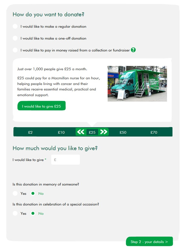 Donation form on Macmillan Cancer Support