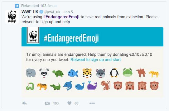 Screen grab of the #EndangeredEmoji tweet