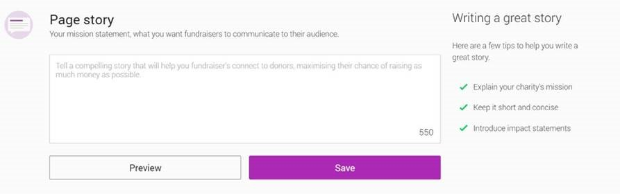 Adding a fundraising page story