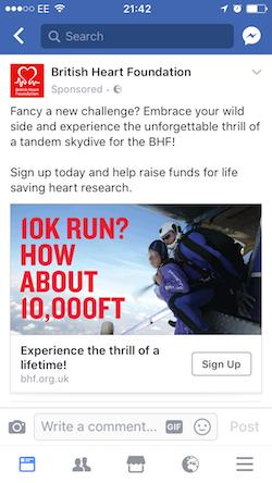 BHF Skydive Facebook ad
