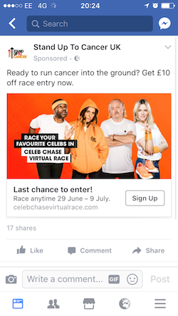 Stand Up to Cancer - Celeb race Facebook ad
