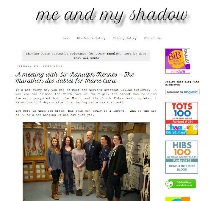 Screen shot of Me and My Shadow blog