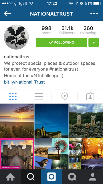 Screen grab of National Trust Instagram profile