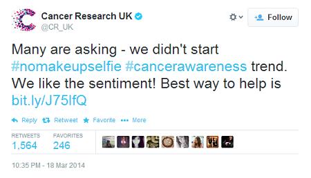 #nomakeupselfie Cancer Research CTA tweet