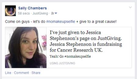 #nomakeupselfie donation share on Facebook