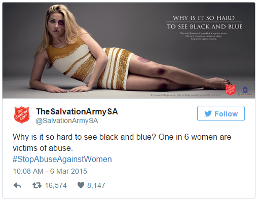 Screen grab of Salvation Army SA tweet