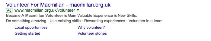 Macmillan volunteers Google ad